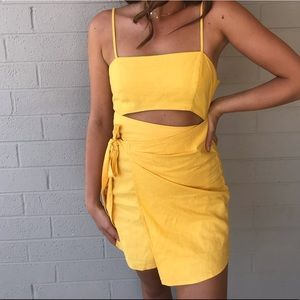 Forever 21 Yellow Wrap Tie Dress